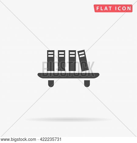 Books On The Bookshelf Flat Vector Icon. Hand Drawn Style Design Illustrations.
