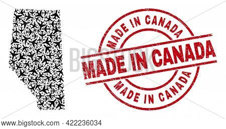 Made In Canada Scratched Seal Stamp, And Alberta Province Map Collage Of Air Force Elements. Mosaic