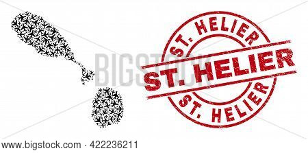 St. Helier Rubber Seal Stamp, And Saint Kitts And Nevis Map Mosaic Of Aviation Elements. Mosaic Sain