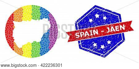 Pixel Rainbow Gradiented Map Of Jaen Spanish Province Mosaic Created With Circle And Stencil, And Di