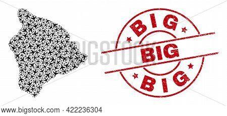 Big Distress Badge, And Hawaii Big Island Map Collage Of Jet Vehicle Items. Collage Hawaii Big Islan