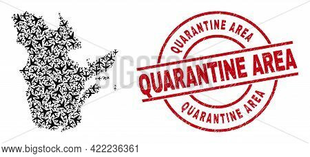Quarantine Area Rubber Seal Stamp, And Quebec Province Map Collage Of Airliner Elements. Collage Que