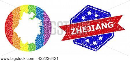 Dot Bright Spectral Map Of Zhejiang Province Collage Formed With Circle And Hole, And Scratched Seal