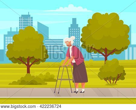 Granny With Glasses Walks With Adult Walker In City Park. Woman Resting Against Background Of Citysc