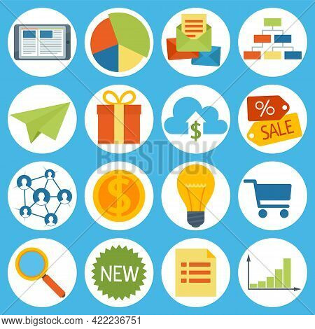 Set Of Shopping And Business Icons. Online Store Business Symbols Sale, Search With Magnifying Glass