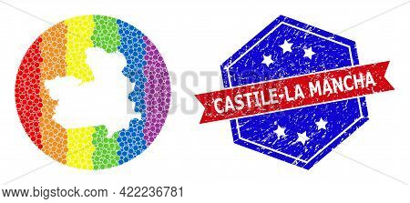 Pixelated Spectrum Map Of Castile-la Mancha Province Collage Designed With Circle And Stencil, And G