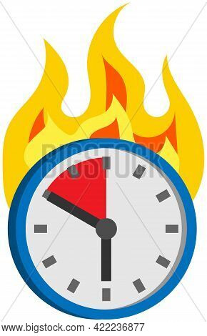 Burning Clock Isolated On White Background. Few Minutes Left Until End Of Term. Clock Shows Remainin