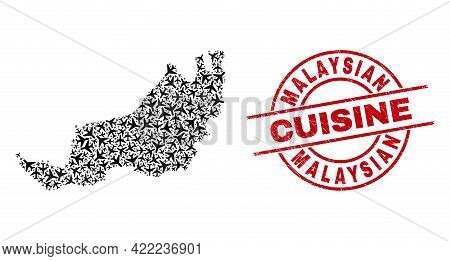 Malaysian Cuisine Rubber Seal Stamp, And Sarawak State Map Collage Of Aircraft Elements. Mosaic Sara