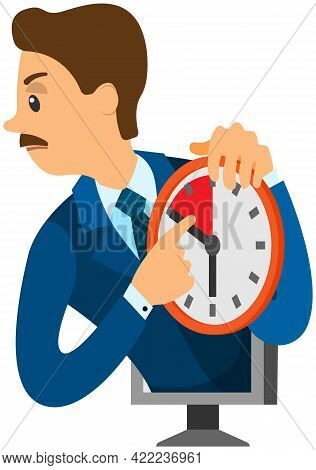 Angry Businessman Standing, Pointing At Clock And Showing That Employee Is Late. Male Boss Explains
