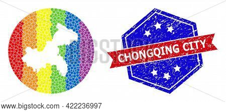 Pixel Spectrum Map Of Chongqing Municipality Collage Created With Circle And Carved Shape, And Distr