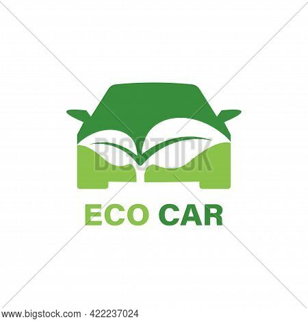 Eco Car Logo Vector Icon. Green Car Template. Ecological Transport Concept. Green Car With Leaves Ic