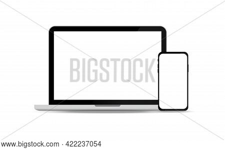 Laptop And Smartphone Mockup With Blank Screen Isolated Vector Illustration. Laptop And Phone Vector