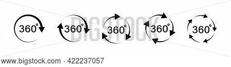 360 Degree Arrows Icon Set In Flat Style. 360 Degree View Rotation Set. 360 Degree Rotation. Virtual