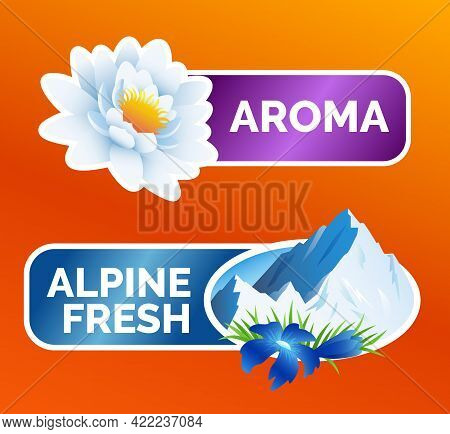 Washing Clothes Sticker, White Lotus Flower And Alpine Freshness Symbol With Mountains And Flowers,