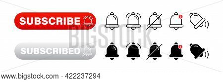Set With Red Subscribe Buttons With Bells On White Background. Social Media Web Buttons Collection.