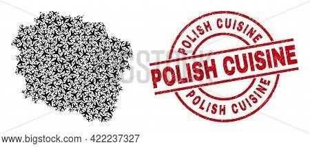 Polish Cuisine Scratched Badge, And Kujawy-pomerania Province Map Mosaic Of Aviation Elements. Mosai