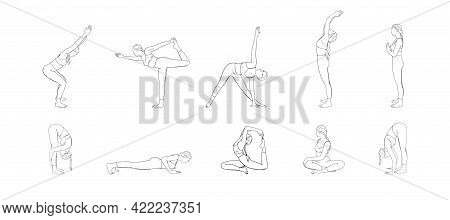 Hatha Yoga Poses Set. Yogi Woman In Different Asanas. Sketch Vector Illustration Isolated In White B