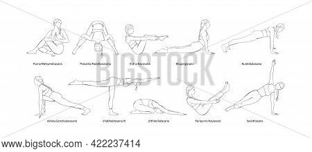 Yoga Set With Sanscrit Asana Names. Yogi Woman Full Body Workout Including Core Muscles, Legs And Ar