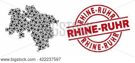 Rhine-ruhr Rubber Seal Stamp, And Lower Saxony Land Map Collage Of Airliner Items. Collage Lower Sax