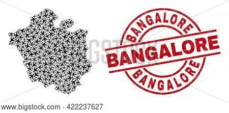 Bangalore Rubber Seal Stamp, And Chandigarh City Map Mosaic Of Jet Vehicle Items. Mosaic Chandigarh