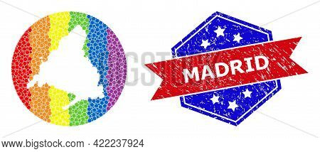 Dotted Spectral Map Of Madrid Province Mosaic Designed With Circle And Carved Shape, And Distress Wa