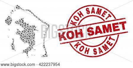 Koh Samet Grunge Seal, And Bora-bora Map Mosaic Of Air Plane Items. Mosaic Bora-bora Map Created Wit