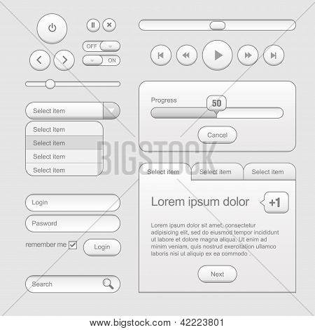 Light Web UI Elements Design Gray. Elements: Buttons