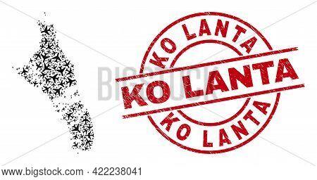 Ko Lanta Rubber Badge, And Andros Island Of Bahamas Map Mosaic Of Aircraft Elements. Mosaic Andros I