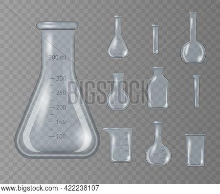Realistic 3d Chemical Lab Beaker, Glass Flask.