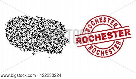 Rochester Rubber Badge, And Terceira Island Map Mosaic Of Jet Vehicle Elements. Mosaic Terceira Isla