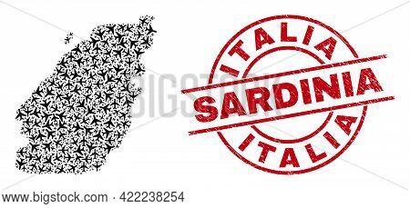 Italia Sardinia Grunge Seal Stamp, And Bowen Island Map Mosaic Of Airplane Items. Mosaic Bowen Islan