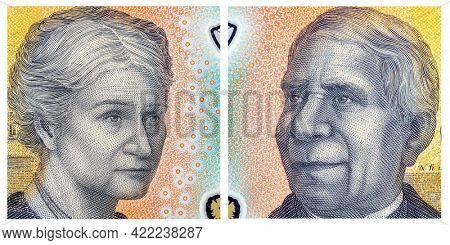 Australia Money Portraits from Fifty Dollar Bill