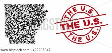 The U.s. Rubber Seal Stamp, And Arkansas State Map Collage Of Jet Vehicle Elements. Collage Arkansas