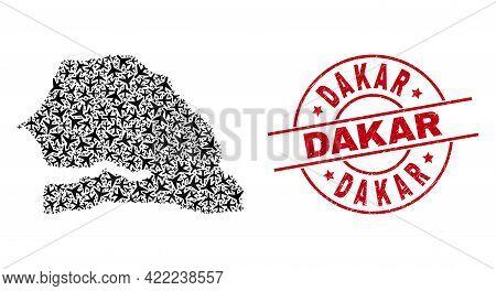 Dakar Rubber Seal, And Senegal Map Mosaic Of Air Plane Elements. Mosaic Senegal Map Designed Of Airc