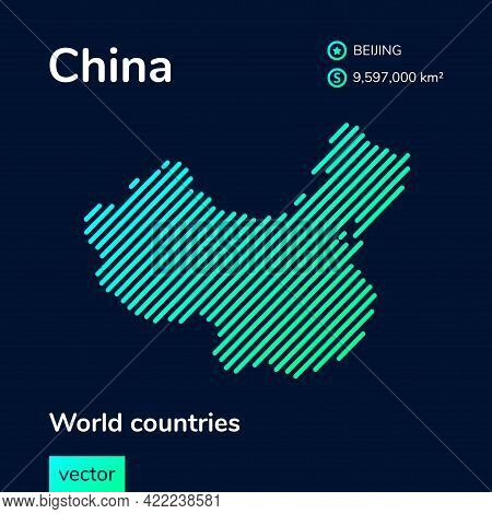 Vector Creative Digital Neon Flat Line Art Abstract Simple Map Of China With Green, Mint, Turquoise