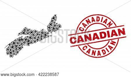 Canadian Rubber Badge, And Nova Scotia Province Map Mosaic Of Aeroplane Elements. Mosaic Nova Scotia
