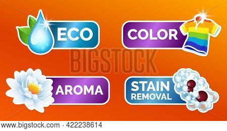 A Set Of Stickers For All Washing Of Clothes - Water Lily White Scent, Striped Colored Polo Shirt Wa