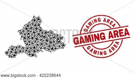 Gaming Area Textured Seal Stamp, And Gelderland Province Map Collage Of Air Plane Items. Collage Gel