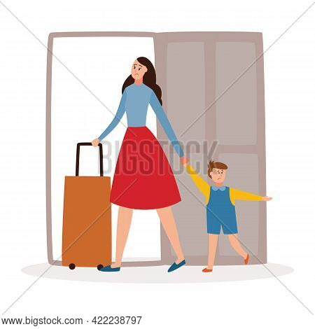 Mother And Child Leaving Home, Divorce And Family Separation