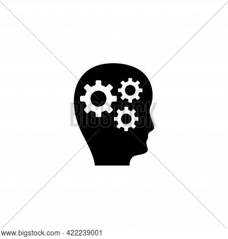 Human Head With Gears, Thoughts Of Brain. Flat Vector Icon Illustration. Simple Black Symbol On Whit