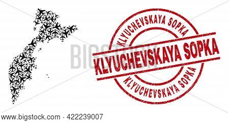 Klyuchevskaya Sopka Rubber Seal Stamp, And Kamchatka Map Collage Of Aeroplane Elements. Mosaic Kamch