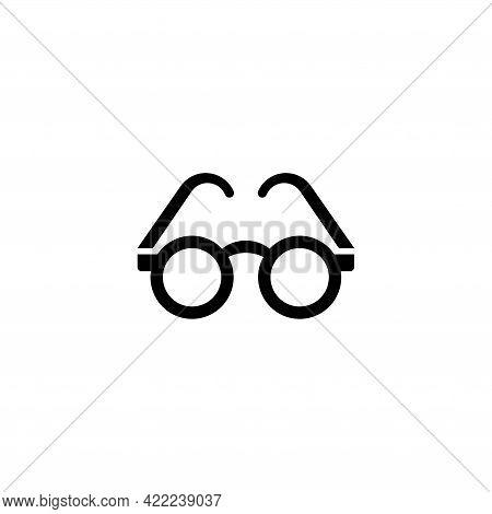 Round Fashion Glasses, Sunglasses. Flat Vector Icon Illustration. Simple Black Symbol On White Backg