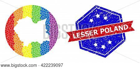 Pixelated Rainbow Gradiented Map Of Lesser Poland Province Mosaic Composed With Circle And Carved Sh