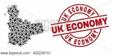 Uk Economy Distress Badge, And Valladolid Province Map Mosaic Of Aviation Elements. Mosaic Valladoli