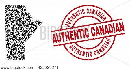 Authentic Canadian Rubber Seal, And Manitoba Province Map Mosaic Of Aviation Elements. Collage Manit