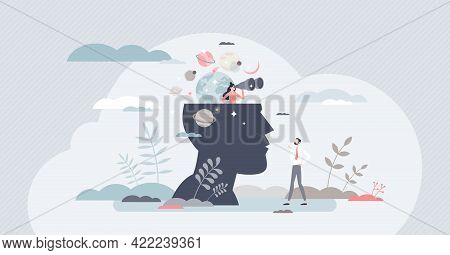 Mindfulness As Mental Mind Practice For Inner Balance Tiny Person Concept. Connection With Universe