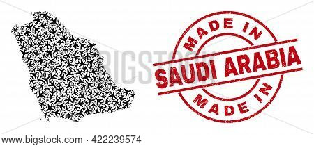 Made In Saudi Arabia Rubber Seal, And Saudi Arabia Map Mosaic Of Aeroplane Items. Mosaic Saudi Arabi