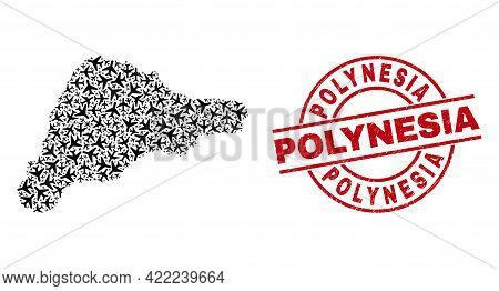 Polynesia Grunge Seal, And Easter Island Map Mosaic Of Aeroplane Elements. Mosaic Easter Island Map