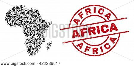 Africa Grunge Seal, And Africa Map Mosaic Of Airplane Items. Mosaic Africa Map Designed Of Aviation