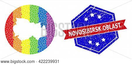 Dot Rainbow Gradiented Map Of Novosibirsk Region Collage Composed With Circle And Subtracted Shape,